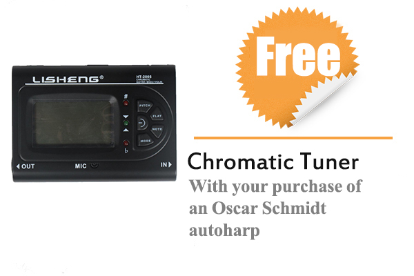 Free Chromatic Tuner With your purchase of an Oscar Schmidt autoharp